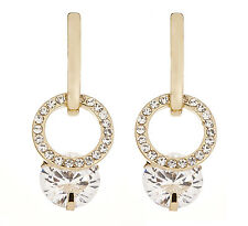 Clip On Earrings - gold earring with a sparkling clear stone & crystals - Celia