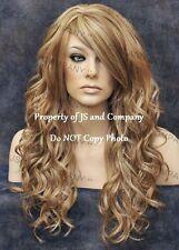 HEAT SAFE Loose WAVY Long Skin Top Golden N Champagne Blonde Mix Wig WBGA 14-22