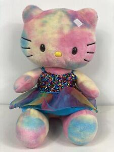 "BUILD-A-BEAR Hello Kitty Pastel Tie-Dye 19"" Plush Toy Rainbow Dress Sanrio"