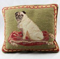 "Vintage Pug Petit Point Needlepoint Pillow 11"" x 9"""