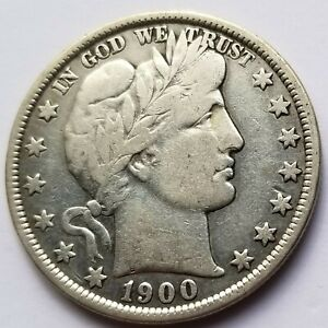 1900 P BARBER HALF DOLLAR FINE FULL LIBERTY ORIGINAL COIN NICE!
