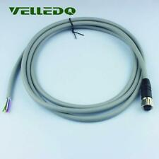 M12 Female Thread 8Pin Circular Connector Adaptor 2m PVC Cable Gray Industrial