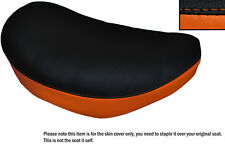 BLACK & ORANGE CUSTOM FITS SUZUKI LS 650 SAVAGE FRONT LEATHER SEAT COVER