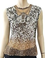 REEM ACRA Sleeveless Sheer Sequin Pearl Tulle Mesh Top L