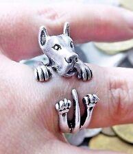 Unique Vintage Silver Adjustable Resizable Great Dane Argentine Dog Animal Ring