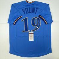 Autographed/Signed ROBIN YOUNT Milwaukee Blue Baseball Jersey JSA COA Auto