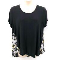 Cato Woman Blouse Top Size 22/24W Black Yellow Gray Short Sleeve Hi Low Hem