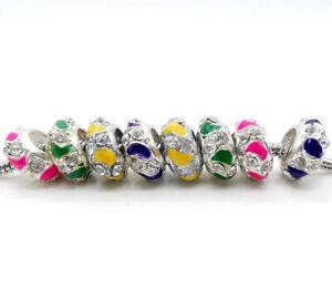 MIX 20pcs Rhinestone Large Hole charm Beads European Bracelets Jewelry Making