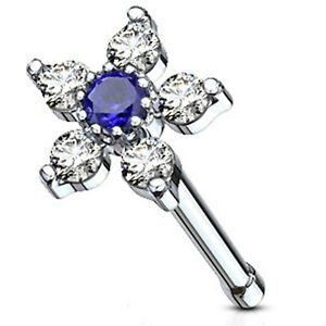"""Nose Bone Ring w/Daisy Flower Blue Clear Gems 6mm Head 20 Gauge 1/4"""" Steel Bo"""