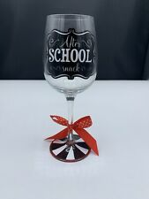 """New listing Black And White Wine Glass """"After School Snack� Funny! Red Ribbon Too!"""