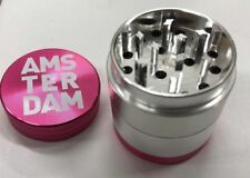 PINK GRINDER AMSTERDAM HERB CRUSHER MAGNECTTIC METAL ROLLING 4 PART CATCHER UK