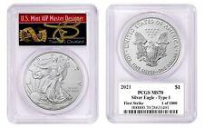 2021 $1 American Silver Eagle 1oz PCGS MS70 FS 1 of 1000 Thomas Cleveland Arrows