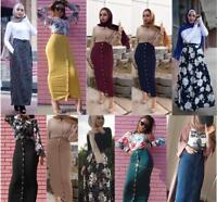 Muslim Women Ladies Long Skirt Bodycon Slim High Waist Stretch Maxi Pencil Dress