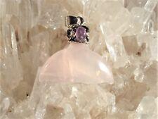 Rose Quartz+PINK TOURMALINE Antique Style Silver Pendant! Gift! Great Price!