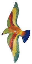 Oiseau multicolore céramique 33 cm, décoration de jardin, murale neuf