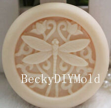 1pcs Dragonfly & Flowers (zx09) Silicone Handmade Soap Molds Crafts DIY Moulds