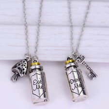 US!Alice In Wonderland Couple Necklace Pendant Cosplay Accessories 2PCS Hot