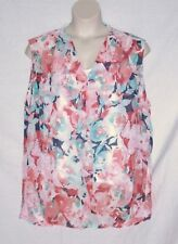 LIZ CLAIBORNE TWIN SET - FLORAL MINT CORAL TOP & WHITE SHELL - SIZE 3X - NEW $45