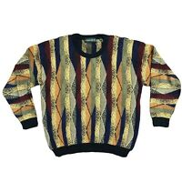 Tundra Canada Coogi Style Crew Neck Knit Sweater Biggie Medium Black Multicolor