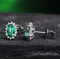 18ct White Gold Natural Emeralds and Diamond Earrings Retail £3900