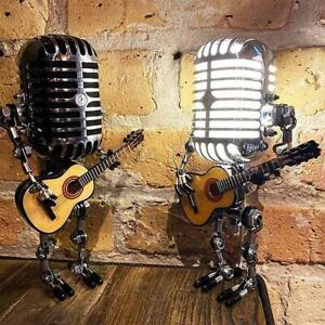 Retro Style Microphone Robot Lamp Holding Guitare Vintage HOT