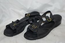 @Vintage Revelations Black Perforated Sandals T Strap Leather Shoes 9 1/2 M