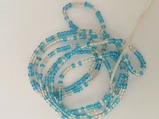 "Sexy African Single Waist Beads, Blue & Clear, 29""inches long New FREE P&P"