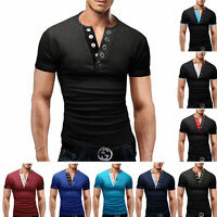 Hot Mens T-Shirt Short Sleeve V-Neck Solid Casual Slim Fit T-shirts Cotton Tops