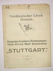 Carte Allemand Du Nord Lloyd Doppelschrauben Paquebot Stuttgart 1935 ! (D7