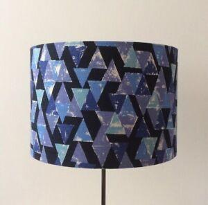 Beautifully Handmade Drum Lampshade In 'Triangles' Cotton Dobby Fabric By Kokka