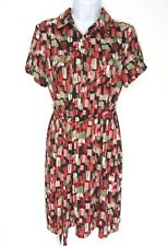 3da0852f New Directions Petite Large Dress Size PL Pink Red Short Sleeve Stretch knit
