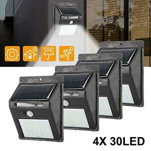 4X 30LED Solarleuchte mit Bewegungsmelder Solarstrahler Außenleuchte Gartenlampe