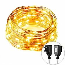 100 LED Fairy String Light Warm White Bulb Wire Rope Starry Waterproof Lamp