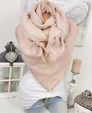 XXL écharpe à points franges Plaid à étole poncho foulard rose gris