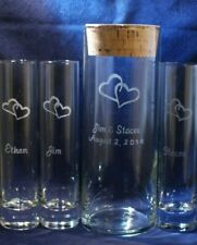 4 pc Wedding Unity Sand Ceremony Set, Engraved 9 x 3 vase w Hearts and Cork lid