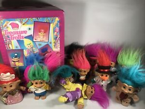 LOT OF VINTAGE TROLL DOLLS RUSS TREASURE TROLL ACE MIXED VARIETY WITH CASE