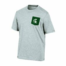 NCAA Michigan State Spartans Men's Poly Pocket Tee L - Gray Heather - Ships FREE