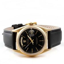 Rolex Mens 18K Yellow Gold Day-Date President - Black Dial - Black Strap