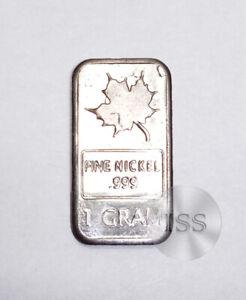 Fine .999 Nickel Ingot, 1 Gram Pure Maple Bar, Collectible Elemental Bullion