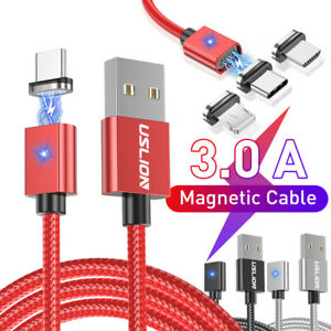 3A Magnetic Micro USB Type C Fast Data Sync Charging Charger Apple Android Cable