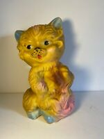 Vintage 50's Rubbertoys Co Rubber Cat Made in Italy Blue Tipped Ears