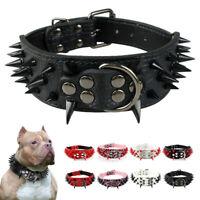 Sharp Spiked Studded Dog Leather Collar for Medium Large Pet Dog Pitbull Mastiff