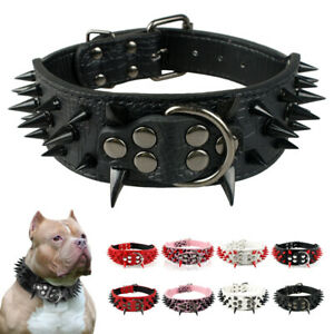 Sharp Spiked Studded Dog Leather Collar for Medium Large Pet Dog Pitbull Mastiff