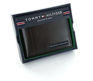 Tommy Hilfiger Classic Men's Leather Credit Card Bifold Wallet Dark Brown
