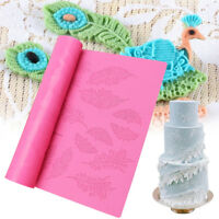 Silicone Feather Lace Mat Icing Mould Fondant Wedding Cake Mold Tool Sugarcraft