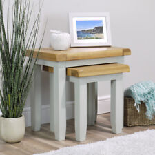 Arklow Painted Oak Nest Of Tables / Grey Solid End Tables / Sofa Tables