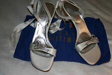 STUART WEITZMAN Bridal WHITE Ribbon JEWELED Sandals SHOES Sz 8.5 N $265 NWOB
