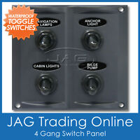 4-GANG WATERPROOF TOGGLE SWITCH PANEL with 15A Blade Fuses - Marine/Boat/Caravan