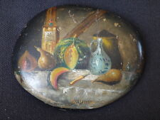 Presse papier miniature peinture sur galet nature morte Old painting signed XIX