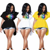 Women short sleeves colorful lips casual club back bandage tailed tops shirts